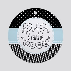 5th Anniversary Gift For Her Round Ornament