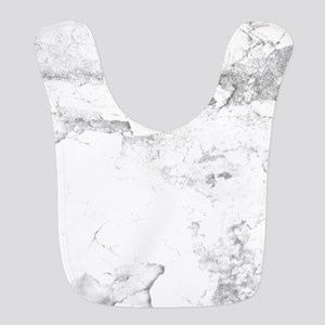 Gray and White Marble Look Polyester Baby Bib