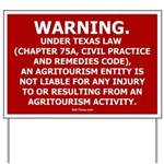Texas Agritourism Liability Relief Yard Sign