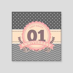 """1st Anniversary Gift Chevro Square Sticker 3"""" x 3"""""""