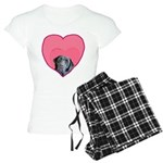 Black Lab Heart Dog Women's Light Pajamas