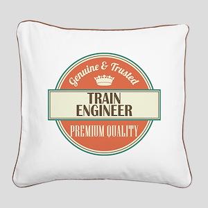 train engineer vintage logo Square Canvas Pillow
