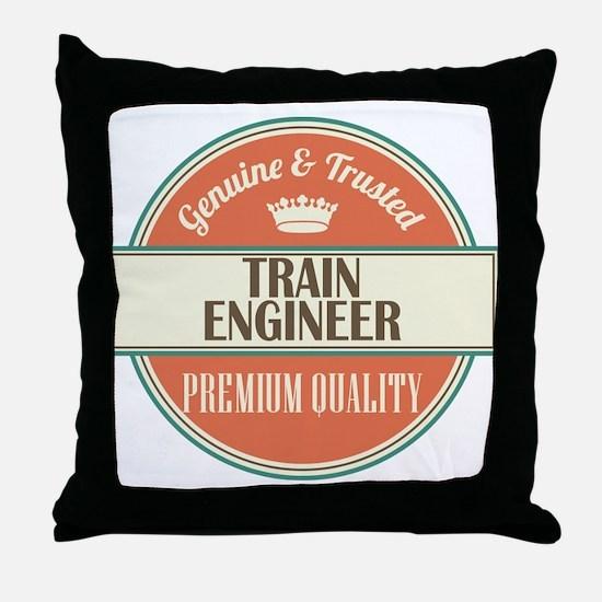train engineer vintage logo Throw Pillow