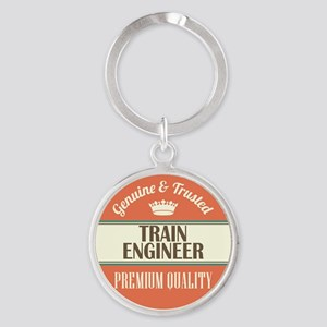 train engineer vintage logo Round Keychain