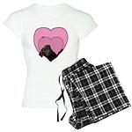 Chocolate Lab Heart Dog Women's Light Pajamas