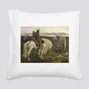 The knight at the crossroads Square Canvas Pillow