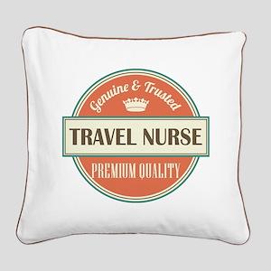travel nurse vintage logo Square Canvas Pillow