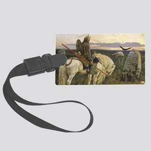 The knight at the crossroads Large Luggage Tag