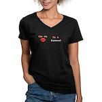 Kiss Me Farmer Women's V-Neck Dark T-Shirt