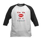 Kiss Me Farmer Kids Baseball Jersey