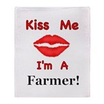 Kiss Me Farmer Throw Blanket