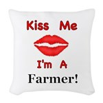 Kiss Me Farmer Woven Throw Pillow