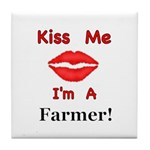 Kiss Me Farmer Tile Coaster