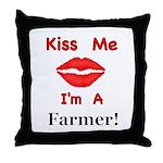 Kiss Me Farmer Throw Pillow