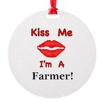 Kiss Me Farmer Round Ornament