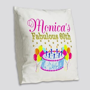 SNAZZY 60TH DIVA Burlap Throw Pillow
