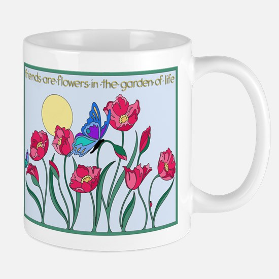 Flower Garden with Butterfly and Sun Mugs