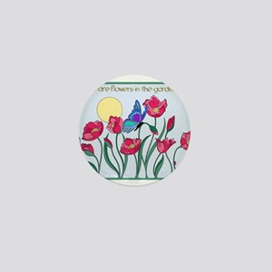 Flower Garden with Butterfly and Sun Mini Button
