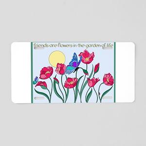 Flower Garden with Butterfl Aluminum License Plate