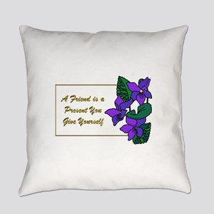 Violets with Quote A Friend is a P Everyday Pillow