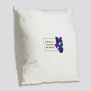 Violets with Quote A Friend is Burlap Throw Pillow
