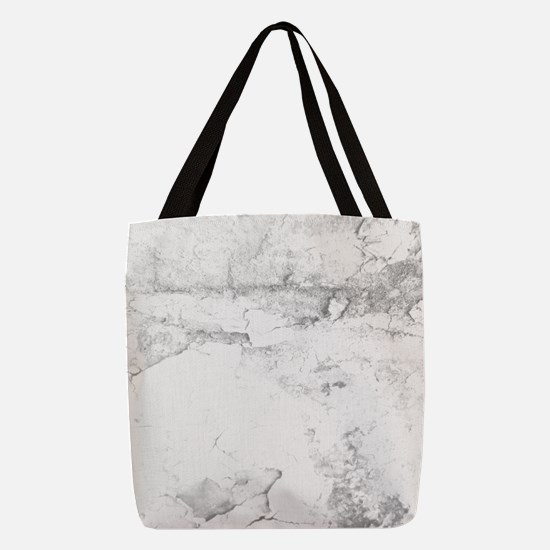 Gray and White Marble Look Polyester Tote Bag