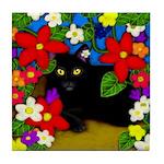 BLACK CAT GARDEN FLOWERS Tile Coaster