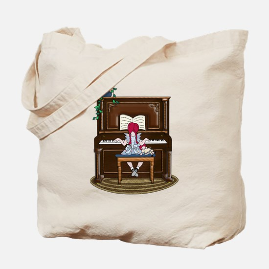 Little Girl Practicing Piano Tote Bag