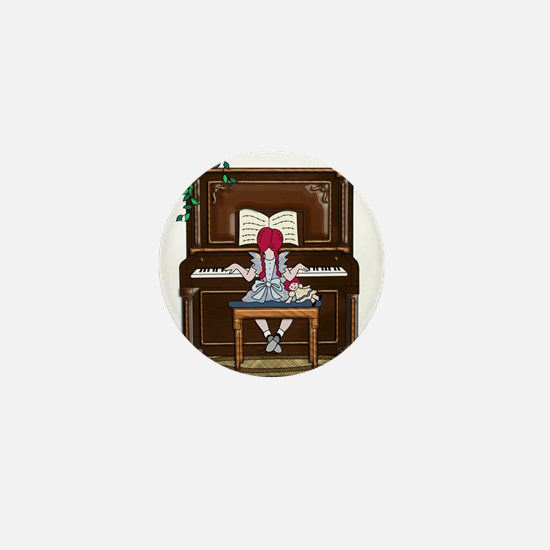 Little Girl Practicing Piano Mini Button