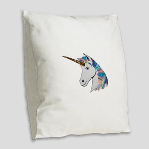 glitter unicorn Burlap Throw Pillow