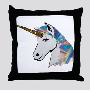 glitter unicorn Throw Pillow