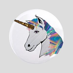 glitter unicorn Button