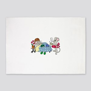 Mouse Mom Caring for Sick Child 5'x7'Area Rug