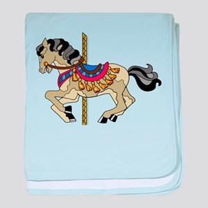 Spotted Pinto Carousel Horse baby blanket