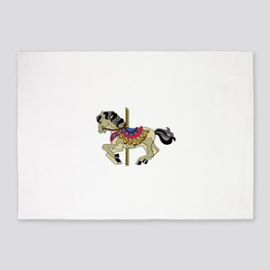 Spotted Pinto Carousel Horse 5'x7'Area Rug