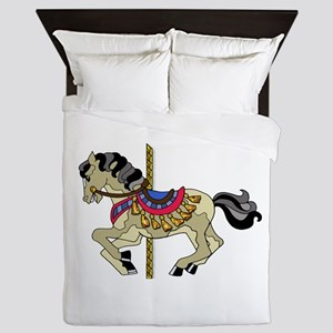 Spotted Pinto Carousel Horse Queen Duvet