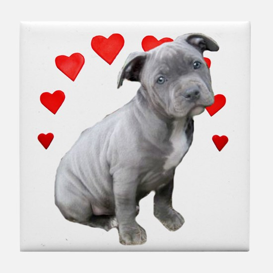 Valentine's Pitbull Puppy Tile Coaster