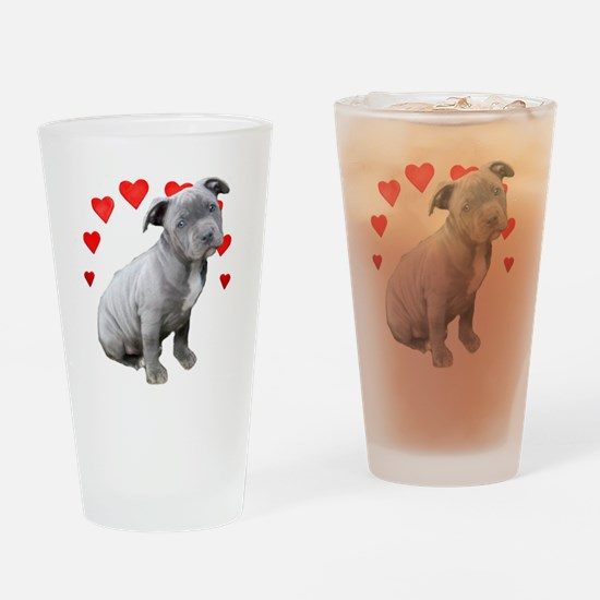 Valentine's Pitbull Puppy Drinking Glass