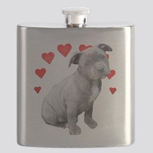 Valentine's Pitbull Puppy Flask