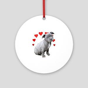 Valentine's Pitbull Puppy Round Ornament