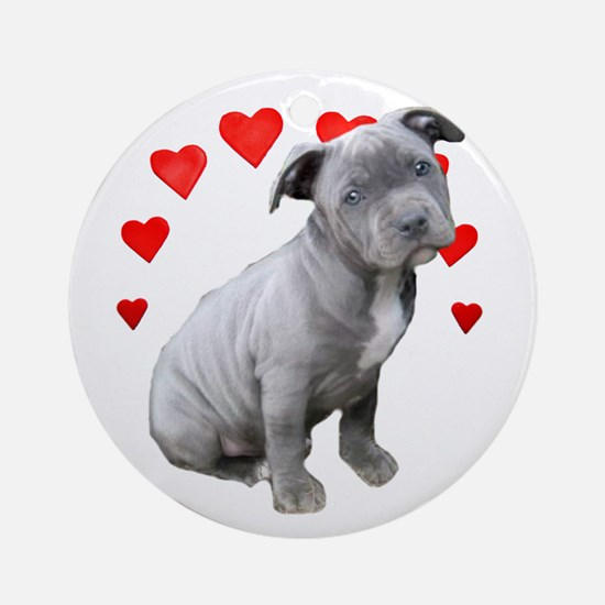 Valentine's Pitbull Puppy Round Ornament
