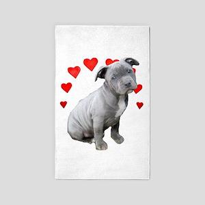 Valentine's Pitbull Puppy Area Rug