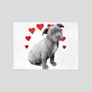 Valentine's Pitbull Puppy 5'x7'Area Rug