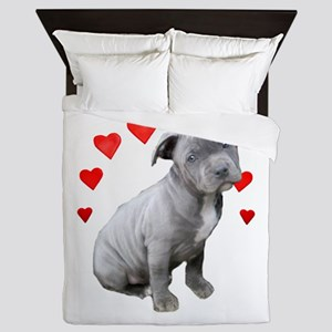 Valentine's Pitbull Puppy Queen Duvet