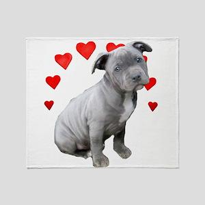Valentine's Pitbull Puppy Throw Blanket