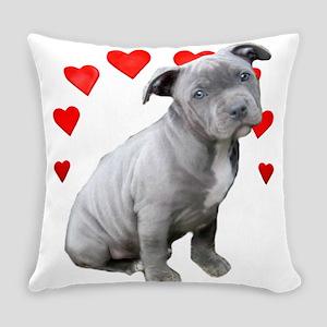 Valentine's Pitbull Puppy Everyday Pillow