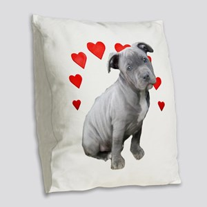 Valentine's Pitbull Puppy Burlap Throw Pillow