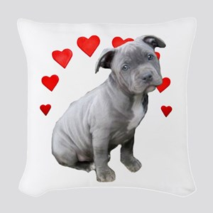 Valentine's Pitbull Puppy Woven Throw Pillow