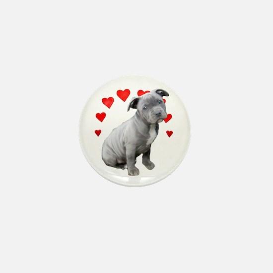 Valentine's Pitbull Puppy Mini Button