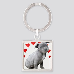 Valentine's Pitbull Puppy Keychains